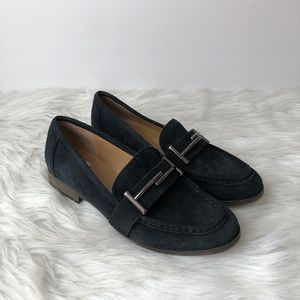 Franco Sarto Navy Blue Leather Suede Loafers